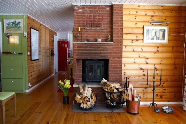 Vardagsrum - Vardagsrummet med öppna spisen