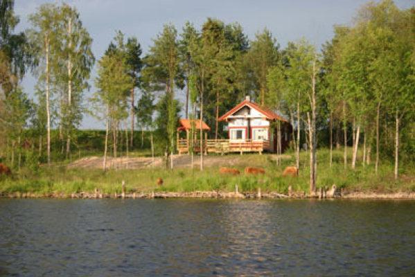 på sommaren - huset från sjösidan