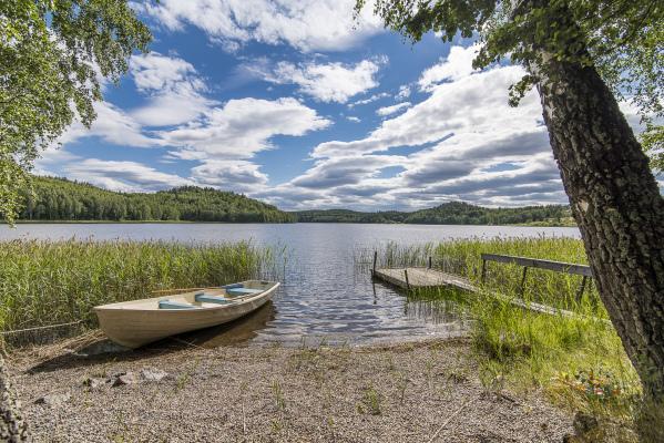 på sommaren - Privat badstrand med roddbåt. Här är det långgrunt vilket kan passa de mindre barnen. Låna roddbåten och ta en fisketur på sjön!