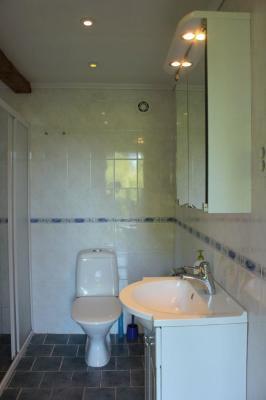 Badrum - Kaklat badrum med toalett och dusch.