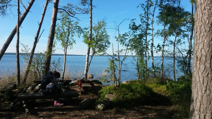på sommaren - Grillplats vid sjön