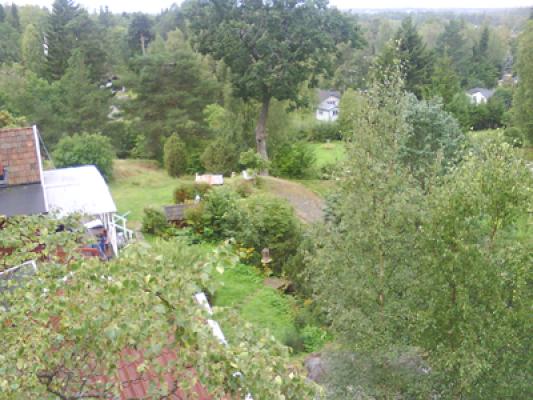 På sommaren - Utsiktsplats på tomten över trädgården.