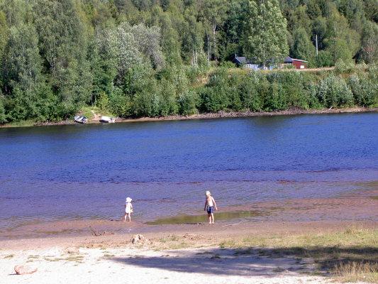 på sommaren - Klarälvens strand vid Branäs by.