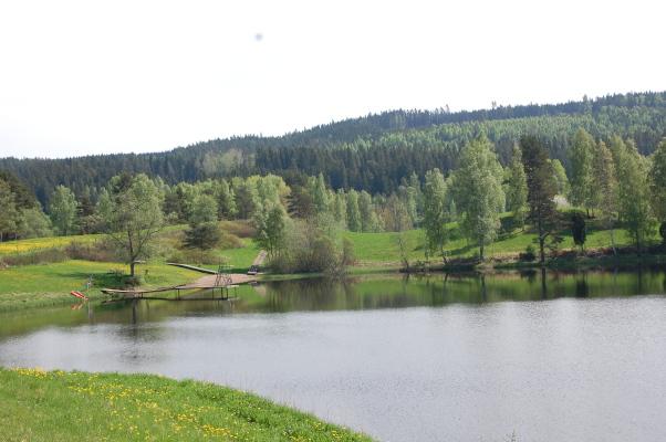 på sommaren - Badplatsen vid Flatasjön