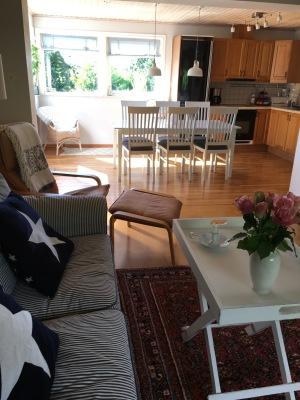 Vardagsrum - kök och vardagsrum ligger tillsammans med öppen spis till höger.