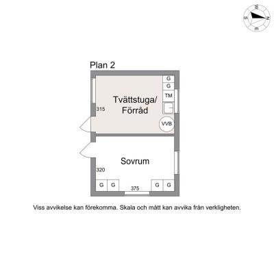 Planritning - Gästrum och tvättstuga i med ingång från poolområdet,omedelbart vid ingång till dusch/WC/bastu