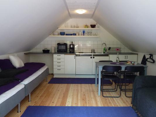 Interiör - Bild över rummet. Sängar, trinettkök, matplats och bäddsoffa