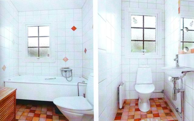 Badrum - Badrum på nedanvåningen. Badrummet är utrustat med bubbelbadkar. Till vänster är en bild på gästtoaletten som också finns på nedanvåningen.