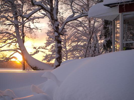 på vintern - Solnedgång på juldagen.