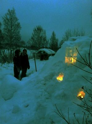 på vintern - Snölyktor och annan vinterlek