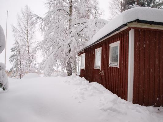 På vintern - Stugan i vinterskrud.
