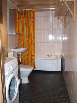 Badrum - badrum med badkar och dusch och tvättmaskin finns också