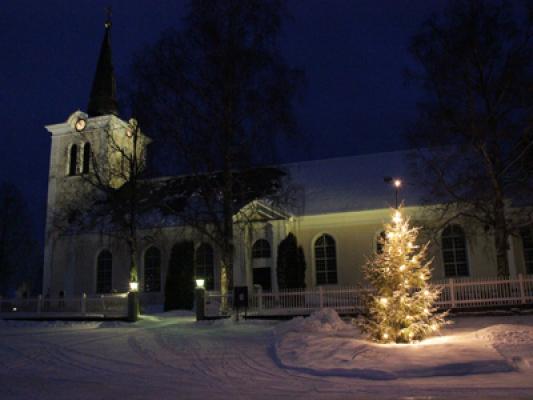 på vintern - Revsud kyrka vid jul