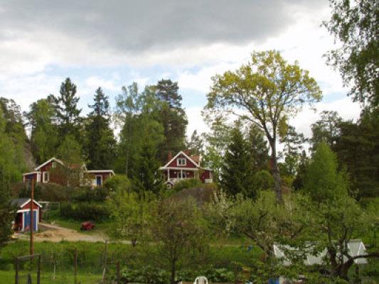 På sommaren - Vy över Gudö by, totalt 14 000 kvm tomt.