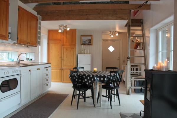 kitchen - In the combined livingroom you will have the open fire place and stairway to the loft