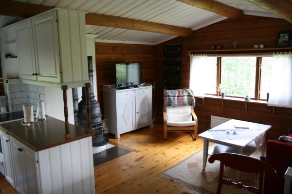 Vardagsrum - Järnkamin med hög mysfaktor. Bäddsoffa, två sköna lätta fåtöljer soffbord och en vidunderlig utsikt över sjön.