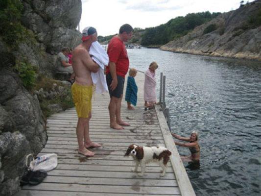 på sommaren - badbryggan