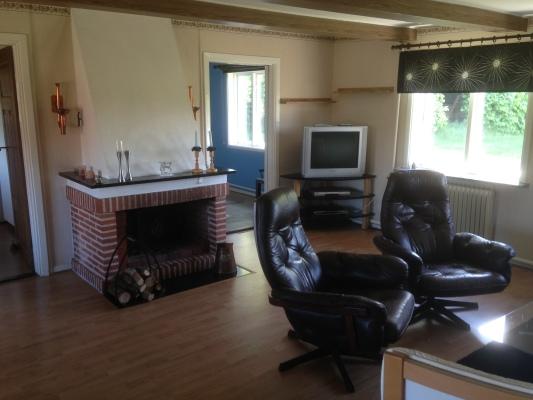 Vardagsrum - Vardagsrum med öppen spis, soffgrupp, matbord med stolar för 6-10 personer