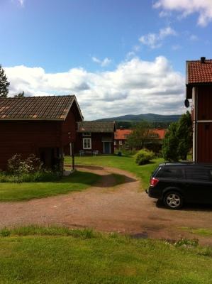 på sommaren - mot gården stugan med blå dörr