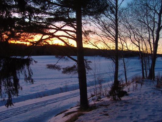 på vintern - Vackra solnedgångar!