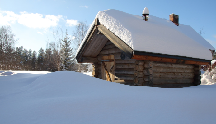 på vintern - bastun finns på tomten