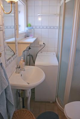 Badrum - Badrum med toalett, dusch och tvättmaskin i det äldre torpet